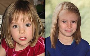 Madeleine McCann aged three and age progressed nine